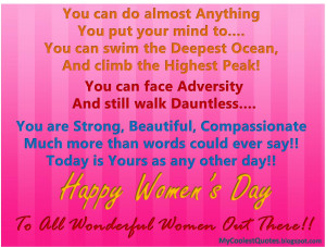 Happy Women's Day : Women can do Anything...