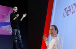 gauche, Steve Jobs, le défunt patron d'Apple. A droite, Xavier Niel ...