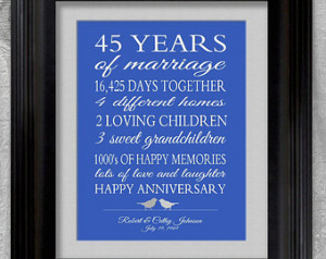 45th Wedding Anniversary Gift Paren ts Sapphire Blue Personalized Love ...