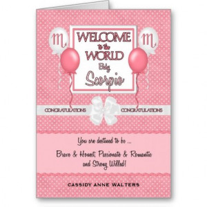 Congratulations New Baby Girl Scorpio Greeting Card