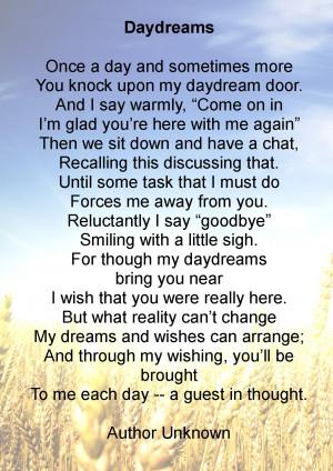 Daydreams Funeral Poem