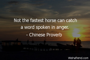 anger-Not the fastest horse can catch a word spoken in anger.