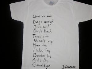shirt with Jack Kerouac's poem hand painted for men,women, teen ...