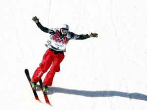 Nick Goepper celebrates his run in the men s ski slopestyle final