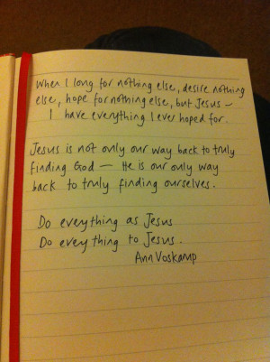 Jesus Quote by Ann Voskamp