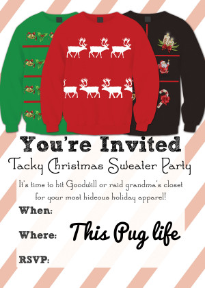 Ugly Christmas Sweater Party Flyer Tacky christmas sweater party