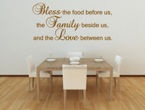 Bless This Food, Family, Love Wall Quote Sticker