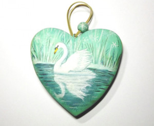 Swan heart with Kate Bush quote from '50 Words for Snow'. Handpainted ...