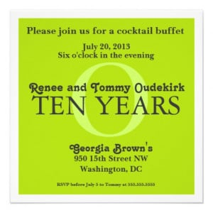 Tenth Wedding Anniversary Celebration Invitations at Zazzle.ca