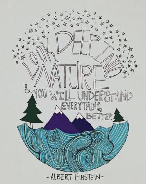 Einstein Nature : Art Print 8x10 - Illustration Mountain Ocean Forest ...