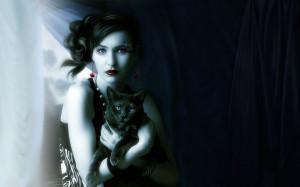 Artistic - Women Beautiful Black Cat Woman Wallpaper