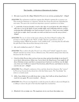 The Crucible Characters Chart The crucible - quotations with
