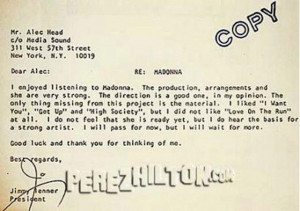 Before They Were Famous: See Madonna's Rejection Letter from 1981!
