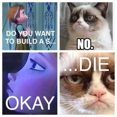Do you want to build a sNOwman? Anna Grumpy Cat, Frozen mash-up. More