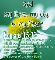 Bible Verse ♥♥♥ ROMANS 15:13 I pray that God, the source of hope ...
