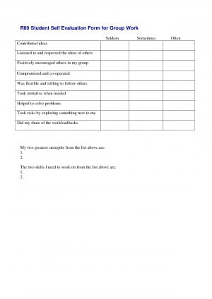 Student Self Evaluation Form For Group Work Doc picture
