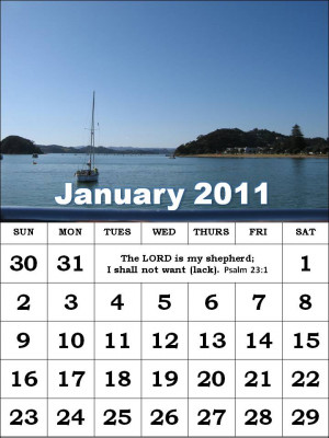 ... this Free Christian Monthly Calendar 2011 January with Bible verses