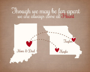 Apart Quote - Custom Family Gift 8x10 Personalized Maps, Hearts, Quote ...