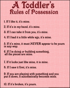Toddlers Rules Of Possession