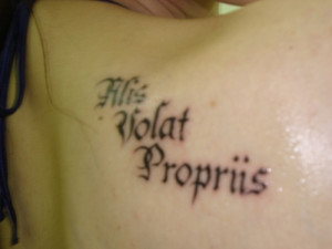 Old English Style Font Latin Quote Tattoo