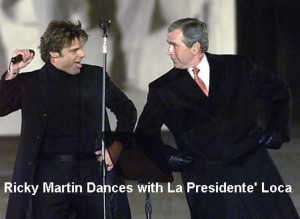 Ricky Martin Gives Bush The Finger During Concert