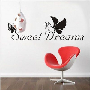 Hot sale 2013 new SWEET DREAMS butterfly vinyl quote wall sticker ...