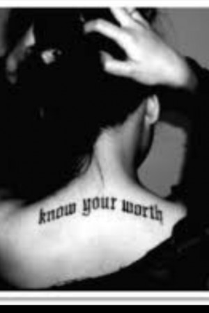 Know your worth tattoo. Smaller with a crown on the neck :) Tattoo ...
