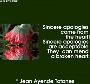SINCERE APOLOGIES.....
