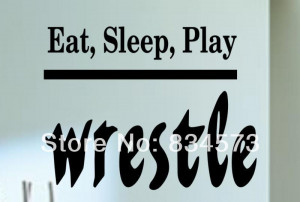 Free Shipping Eat Sleep Wrestle Kids Quote Wall Stickers Decal DIY ...