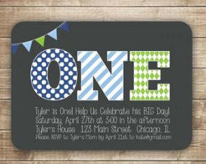 1st Birthday Invitation / First Birthday Invitation / ONE / 1st, 2nd ...