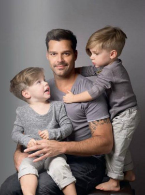 Ricky Martin poses with his twin sons for Father's Day