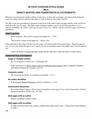 IN TEXT CITATION STYLE GUIDE MLA DIRECT QUOTES AND by cantaloop