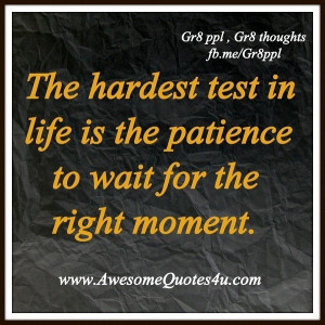 Patience is a virtue....