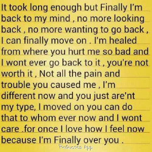 it was all me but it was you too...you also hurt me but I am over you ...