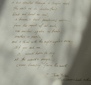 ... quotes and poetry beautifully handwritten on the walls by Terri