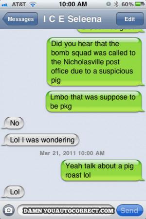 funny auto-correct texts - pig-roast