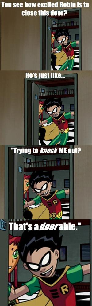 Teen Titans- Robin closing a door...