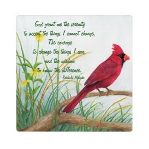 Serenity prayer bright red cardinal plaque