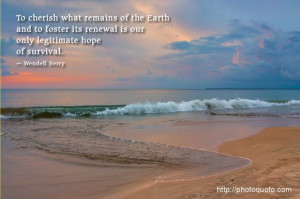 To cherish what remains of the Earth and to foster its renewal is our ...