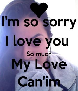 Sorry My Love I'm so sorry i love you so