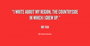 write about my region the countryside in which I grew up