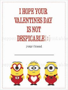 Despicable Me Minion inspired Valentines - DIY Printing on Etsy, $14 ...