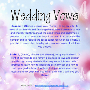 Funny Wedding Marriage Vows - Silly Sample Vow Examples - Wedding570