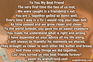 ... best friends forever best friend poem i gave this to a close friend