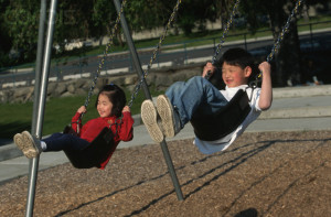 Children Swinging Swing Stock Images Image