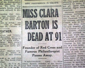 Home > Deaths of Clara Barton and Gen. Frederick Grant...