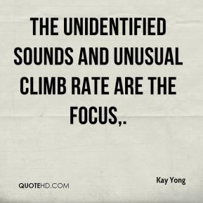 Kay Yong - The unidentified sounds and unusual climb rate are the ...