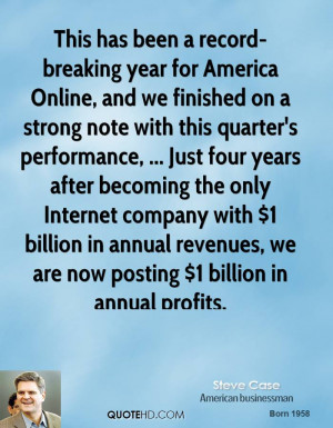 This has been a record-breaking year for America Online, and we ...