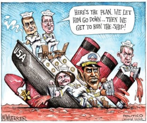 Funny photos funny Obama republicans sinking ship comic