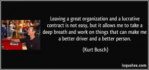 Leaving a great organization and a lucrative contract is not easy, but ...